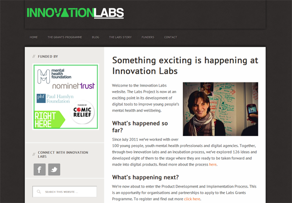 See the Innovation Labs Website created by Charity Websites with Joe
